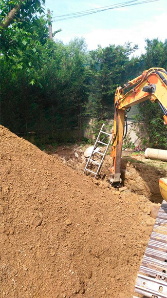 Escavadora fosas septicas hacer agujero