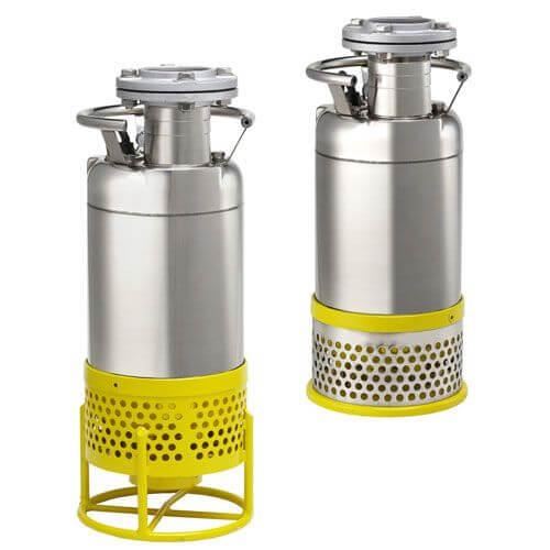 Bomba de agua sumergible para drenaje y agotamiento de aguas fangosas en minas, pozos abiertos, desecación de encofrados ó excavaciones de zanjas y canales